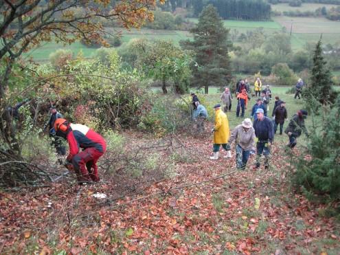Ehrenamtliche bei Landschaftspflegeeinsatz
